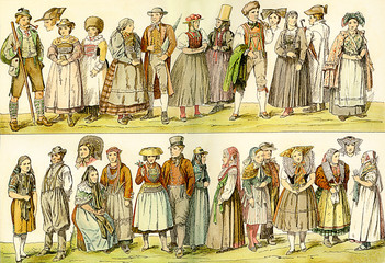 German traditional wear in XVIII century