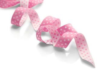 Pink ribbon, isolated on white