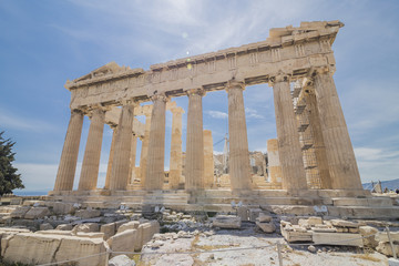 Ancient temple on the top of Acropolis, Athens, Greece (Parthenon hill)