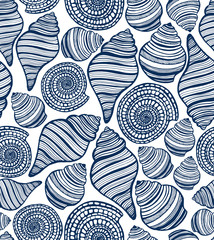 vector hand-drawn seamless background with seashells