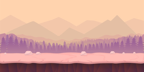 game background 2d  application. Vector design. Tileable horizontally. Size 1024x512. Ready for parallax effect