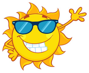 Smiling Sun Cartoon Mascot Character With Sunglasses Waving For Greeting