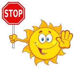 Cute Sun Cartoon Mascot Character Gesturing And Holding A Stop Sign