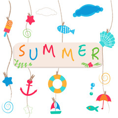 Summer holidays. Hanging summer beach products and blank photo. Sea shells, anchor, fish, ice cream and starfish on the beach vector