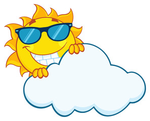 Smiling Summer Sun Mascot Cartoon Character With Sunglasses Hiding Behind Cloud