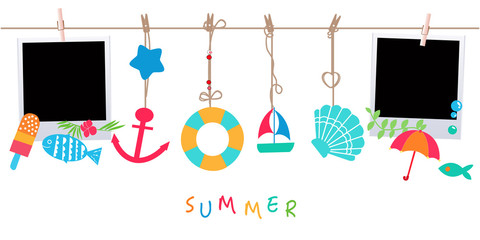 Summer holidays. Hanging summer beach products and blank photo. Sea shells, anchor, fish, ice cream and starfish on the beach vector illustration