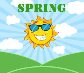 Sunshine Smiling Sun Mascot Cartoon Character With Sunglasses Over Landscape