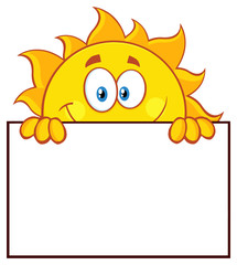 Cheerful Sun Cartoon Mascot Character Over A Sign Blank Board
