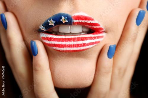 USA national flag makeup on woman lips