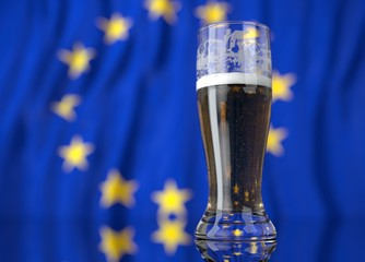 a glass of beer in front a European Union, flag. 3D illustration rendering.