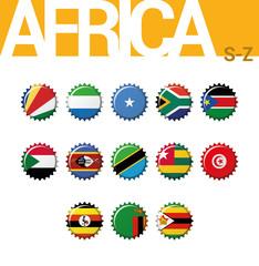 Vector set of 13 bottle cap flags of Africa (S-Z). Set 4 of 4. Seychelles, Sierra Leone, Somalia, South Africa, South Sudan, Sudan, Swaziland, Tanzania, Togo, Tunisia, Uganda, Zambia, Zimbabwe.
