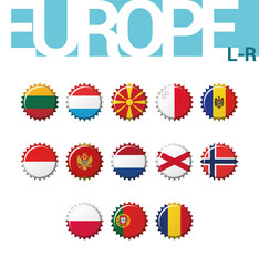 Vector set of 13 bottle cap flags of Europe (L-R). Set 3 of 4. Lithuania, Luxembourg, Macedonia, Malta, Moldova, Monaco, Montenegro, Netherlands, North Ireland, Norway, Poland, Portugal, Romania.