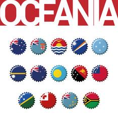 Vector set of 14 bottle cap flags of Oceania. Australia, Fiji, Kiribati, Marshall Islands, Micronesia, Nauru, New Zealand, Palau, Papua New Guinea, Samoa, Solomon Islands, Tonga, Tuvalu, Vanuatu