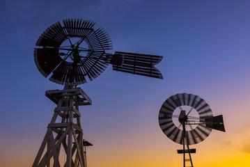 Windmills at twilight, Texas