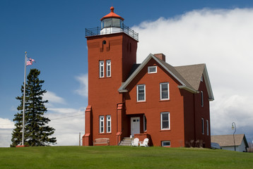 Two Harbors Lighthouse on Lake Superior in Minnesota. Two Harbors Lighthouse is listed on the National Register of Historic Places built in 1821