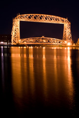 The Aerial Lift Bridge is a major landmark in the port city of Duluth, Minnesota on the Great Lakes