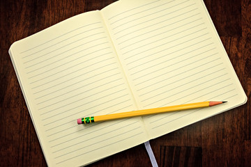 Lined notebook with yellow pencil.