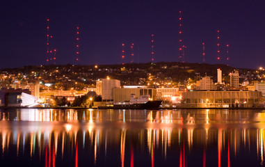 Duluth Minnesota reflected in water at Night