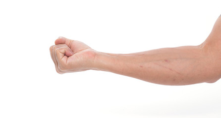 Man hand with fist on white background
