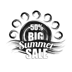 Summer sale black grunge vector illustration.