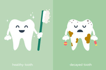 healthy and decayed tooth