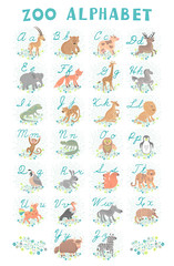 Cute vector zoo alphabet. Funny cartoon animals. Letters. Learn to read and write.