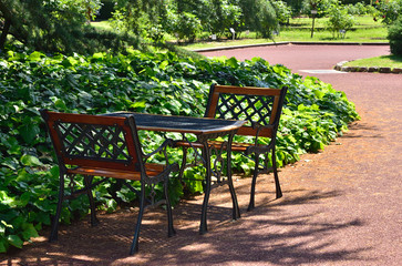 Garden chairs and shade.