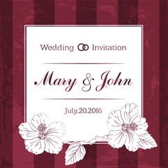 Marriage design template with custom names in square frame  flowers. Vector illustration.