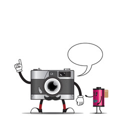 Vintage camera and film character design vector illustration