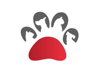 Modern Pet Logo - Red Paw Pet Clinic Symbol