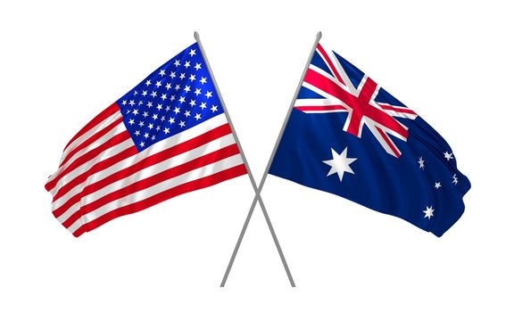 3d illustration of USA and Australia flags waving in the wind
