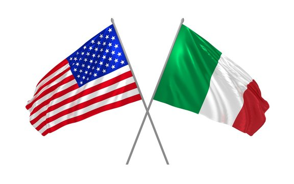 3d illustration of USA and Italy flags waving in the wind
