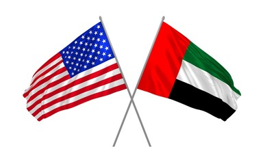 3d illustration of USA and United Arab Emirates flags waving in the wind