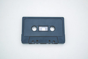 Old audiotape on white background