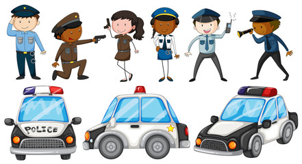 Police officers and police cars