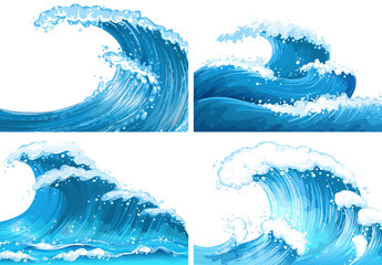 Four scenes of ocean waves