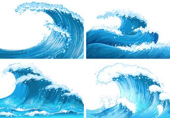 Four scenes of ocean waves