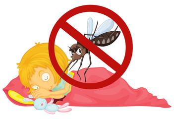 No mosquito while girl sleeping