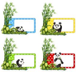 Polkadot labels with panda and bamboo