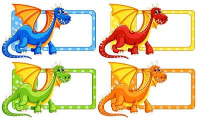 Polkadot labels with wild dragon