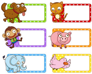 Polkadot labels with cute animals