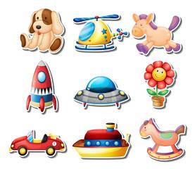 Many toys on white background