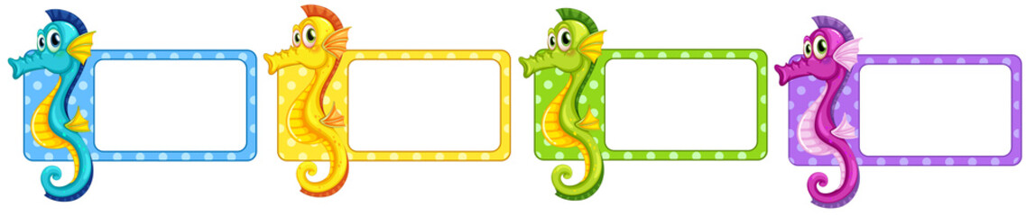 Labels with colorful seahorses