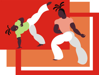 the fighters of the national Brazilian martial art capoeira