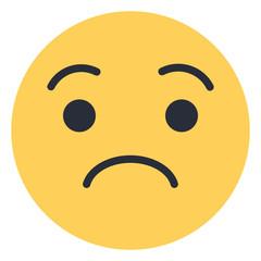 Worried face - Flat Emoticon design   Emojilicious