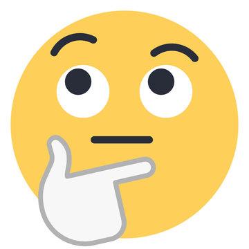 Thinking face - Flat Emoticon design   Emojilicious