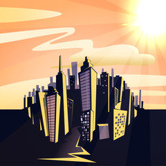 Cartoon sunset cityscape. illustration