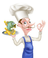 Cartoon Chef With Fish and Chips