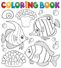 Coloring book coral fish theme 1