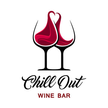 Chill out wine bar logo template.